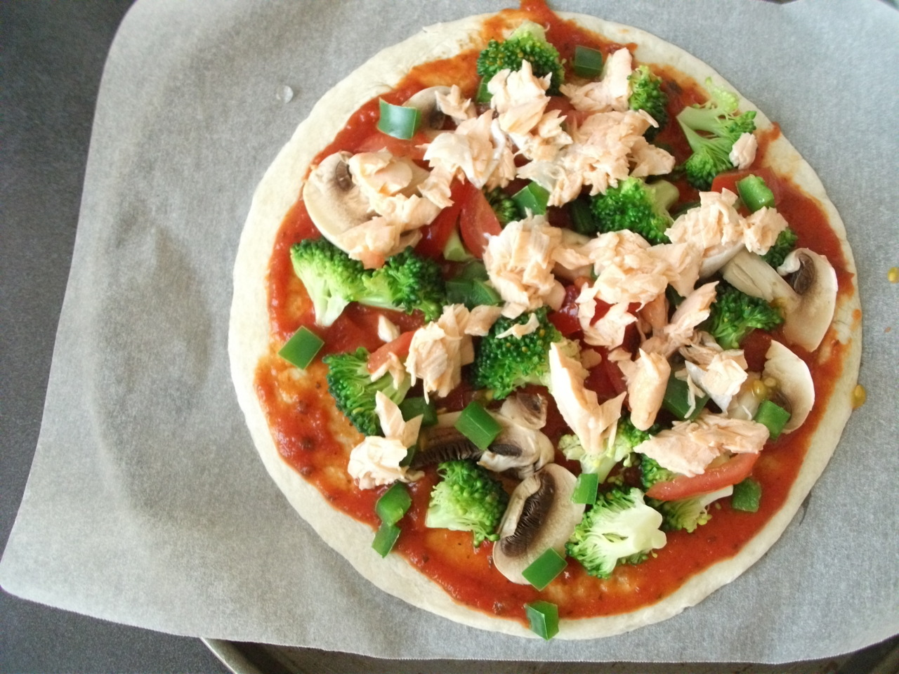 Homemade Salmon Tortilla Pizza